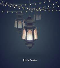 Eid al adha. Greeting card template on Eid Al-Fitr muslim religious holiday with lanterns on blurred lights background. Mosque for Islamic holy month of prayer, Ramadan Kareem celebration