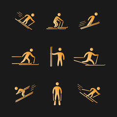 Silhouettes of figures skier icons set.