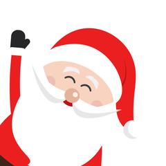 santa claus wave happy side snow isolated background