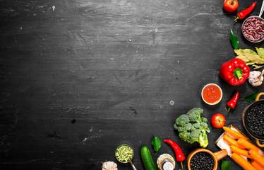 Big set organic food. Fresh raw vegetables.
