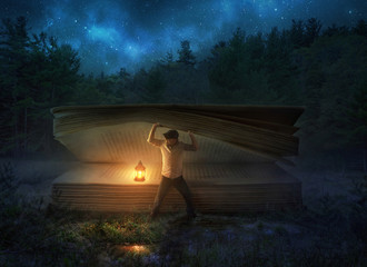 Wall Mural - Finding a large Bible at night