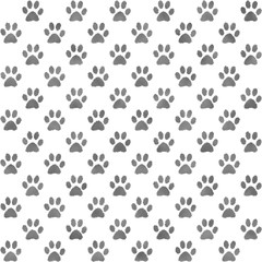 Seamless gray and white paw print pattern