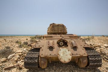 old tank on the beach of Socotra, Yemen