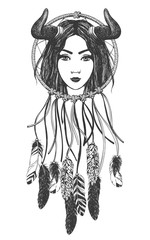 Woman with feathers and dreamcatcher.