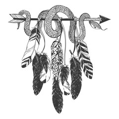 Dreamcatcher with arrow, feathers and snake.
