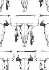 Bull skull seamless vector pattern