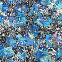 abstract seamless pattern with blue flowers,floral illustration art