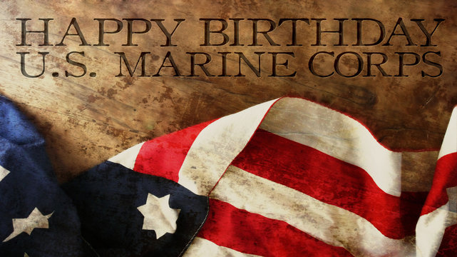 Happy Birthday US Marine Corps Flag and Woods
