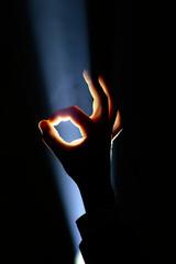 hand gesture in spotlight