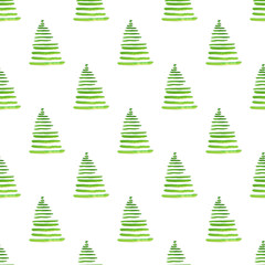 Watercolor illustration of Christmas trees. Merry Christmas and Happy New Year seamless pattern.