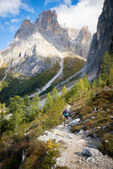 Man Mountain Biking in the Dolomites, Val Gardena, South Tyrol, Italy
