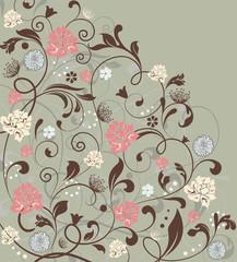 Vintage invitation card with ornate elegant retro abstract floral design, multi-colored flowers on laurel green background. Vector illustration.
