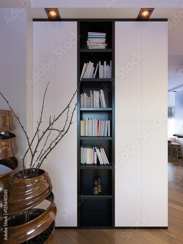 3d illustration of a townhouse interior design in a for Minimalist townhouse design
