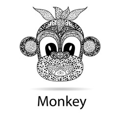 abstract black and white ornament of a monkey