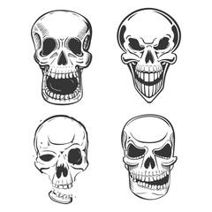 Skull vector tattoo art in sketch style