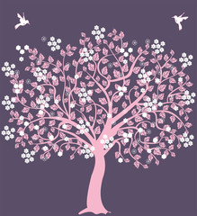 Pink tree with flowers and birds