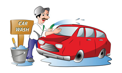 Man Washing a Red Car, illustration