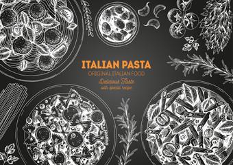 Italian pasta frame. Hand drawn vector illustration of an Italian pasta on chalkboard. Food design template. Farfalle, Penne and Spaghetti illustration. Classic italian cuisine.