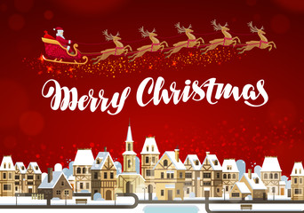 Merry Christmas. Winter landscape with Santa Claus on sleigh flying in sky