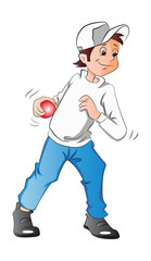 Boy Pitching a Baseball, illustration