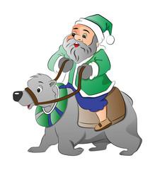Old Man Riding a Polar Bear, illustration
