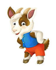 Cartoon happy and funny goat - isolated background - illustration for children