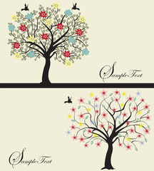 Set of abstract tree silhouettes