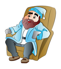 Bearded Man Sitting on an Easy Chair, illustration