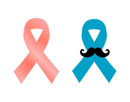 woman pink breast cancer ribbon awareness and blue prostate cancer ribbon awareness. Isolated on white