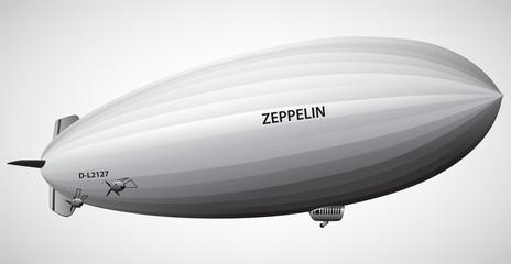 Vintage airship Zeppelin. Dirigible balloon. Vector illustration