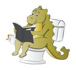 Dinosaur Using a Toilet, illustration
