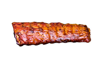 Top view portion of delicious spicy marinated spare pork ribs barbecued isolated on white background. American food, flat lay, composition from above. Grill barbecue concept.
