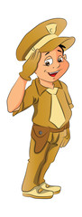 Boy in Police Uniform, illustration