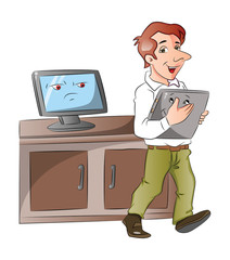 Vector of a cartoon monitor looking at businessman carrying lapt