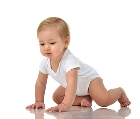 Infant child baby girl toddler crawling happy isolated