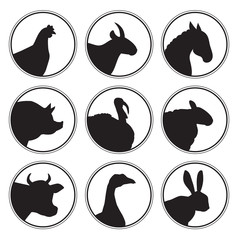 Set of farm animals logo