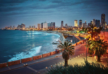 Night view of Tel Aviv, Israel. Vintage retro effect Fototapete