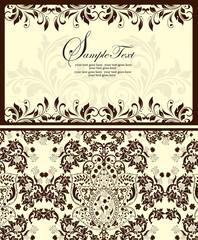 Vintage invitation card with ornate elegant abstract floral desi