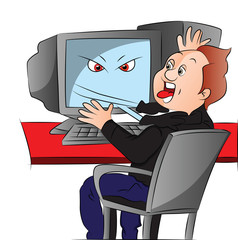 Vector of boy attacked by his computer.
