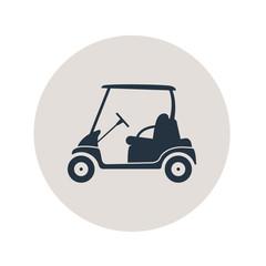 Icono plano carro golf en circulo gris
