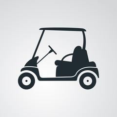 Icono plano carro golf en fondo degradado