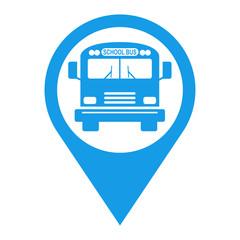 Icono plano localizacion school bus azul