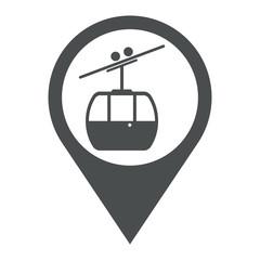 Icono plano localizacion teleferico gris