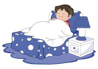 Vector of boy sleeping in bed.