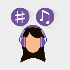 Musician listening melody icon vector illustration graphic design