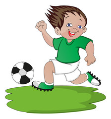 Vector of boy playing soccer.