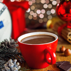 Tuinposter Hot chocolate mug, Christmas tree and gift boxes on background. Traditional sweet winter cocoa drink.
