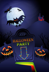 Night landscape with tombstone, bats, trees, pumpkins and haunted house - Halloween background