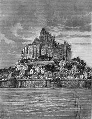 Mont Saint-Michel, vintage engraving.