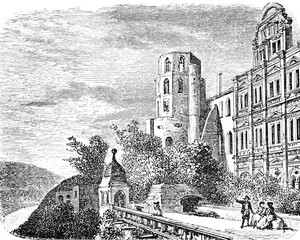 Heidelberg Castle, on the side of the terrace, vintage engraving